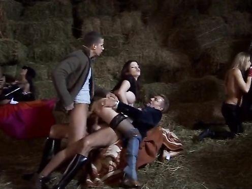 Групповое порно с шалавами в деревне на сеновале